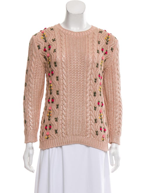 Gucci Embroidered Knit Sweater Pink
