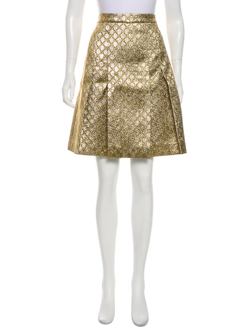 Gucci GG Web Metallic Skirt Tan