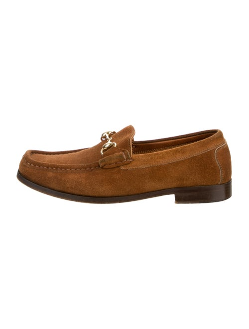 Gucci Suede Square-Toe Loafers Brown