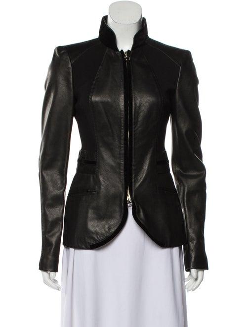 Gucci Velvet-Trimmed Leather Jacket Black