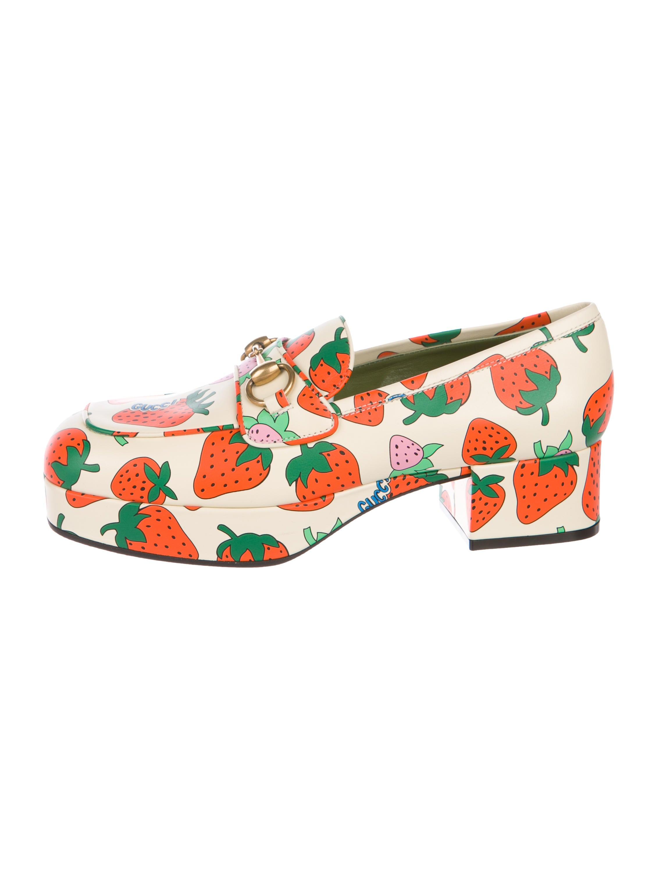 Gucci Strawberry Platform Loafers w