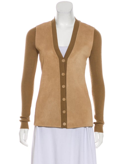 Gucci Leather-Accented Cashmere Cardigan Tan