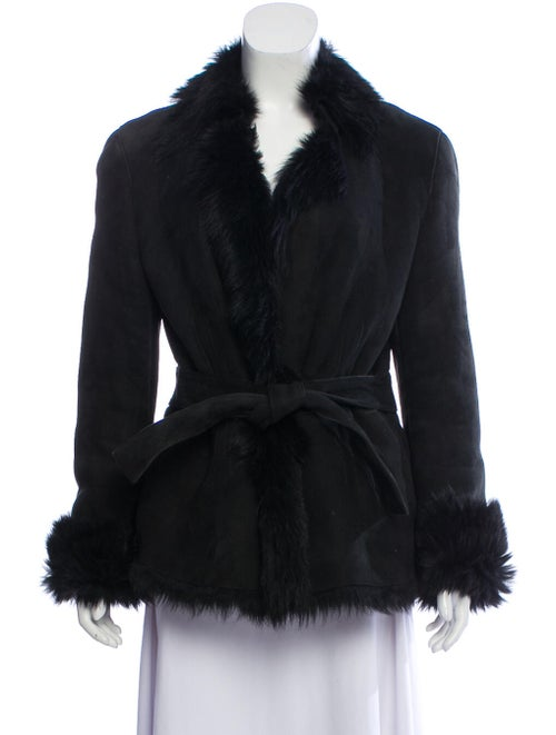 Gucci Shearling-Trimmed Suede Jacket Black