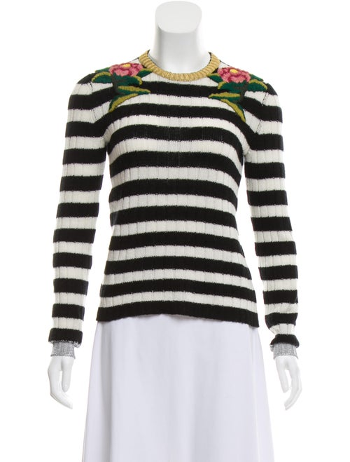 Gucci Cashmere-Blend Embroidered Sweater Black