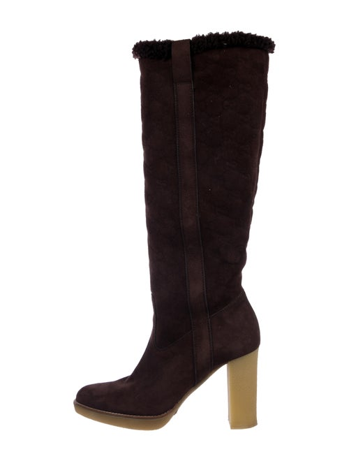 Gucci Suede Knee-High Boots Brown