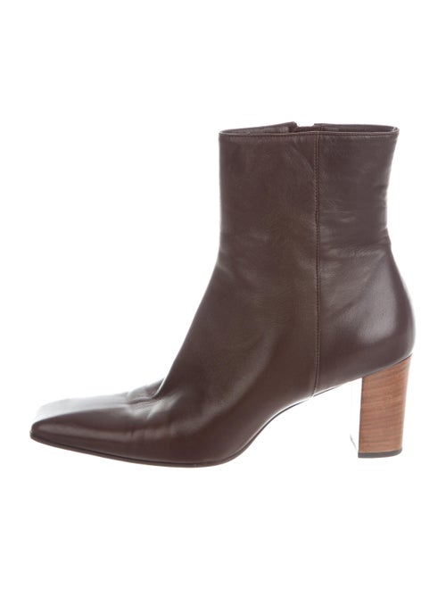 Gucci Leather Square-Toe Ankle Boots Brown