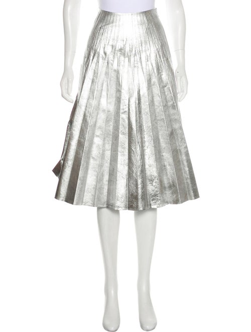 Gucci Leather Pleated Skirt Silver