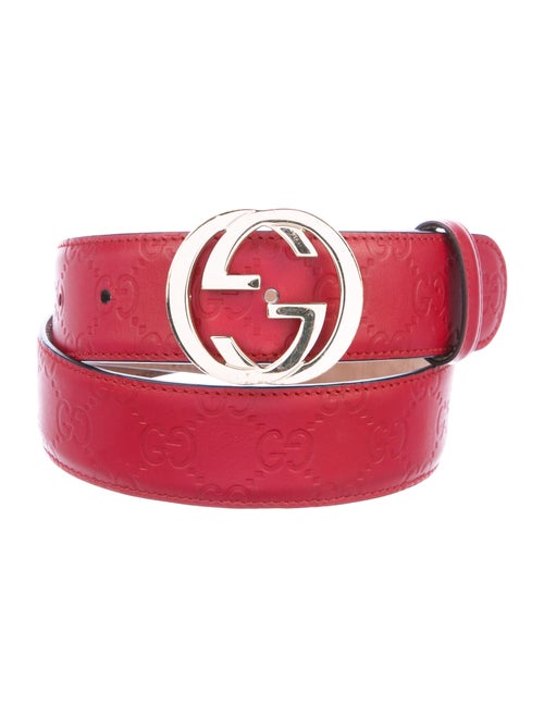 Gucci GG Leather Belt Red