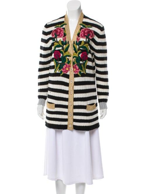 Gucci Embroidered Striped Cardigan black