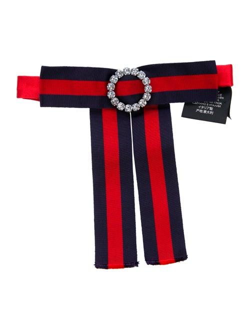 Gucci Jewel-Embellished Web Bow Tie blue