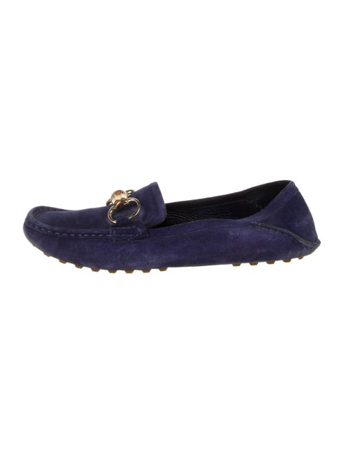 Gucci Suede Bamboo Horsebit Loafers violet