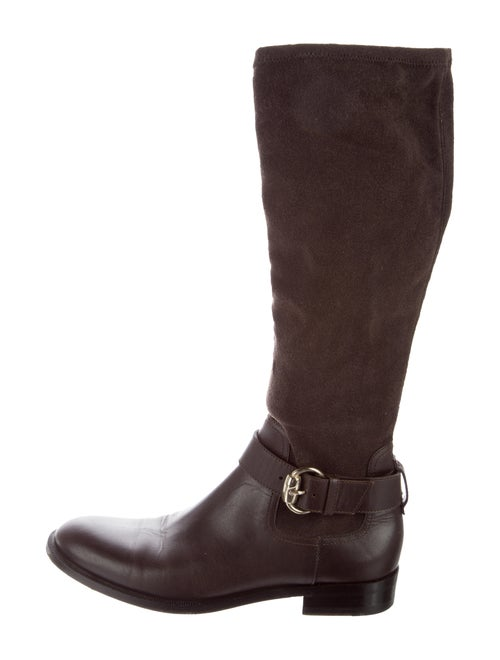 Gucci Knee-High Boots Suede Riding Boots Brown