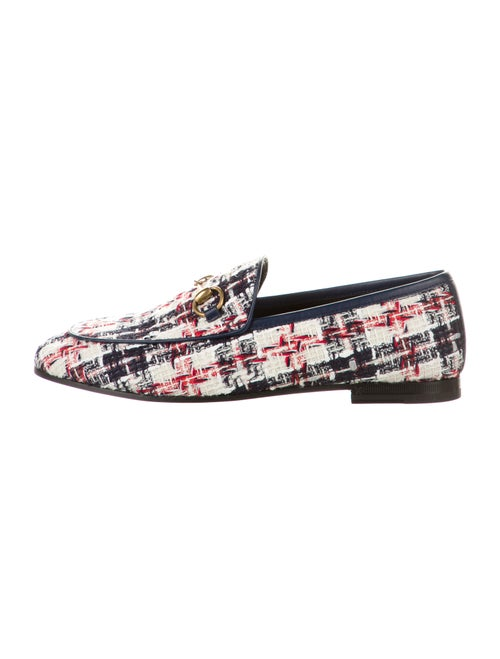 Gucci Jordaan Tweed Loafers Navy