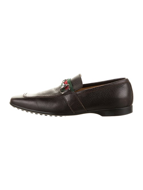 Gucci Web Leather Loafers brown