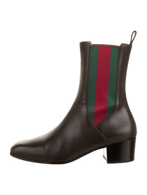 Gucci Gucci Web Accent Leather Chelsea Boots Brown