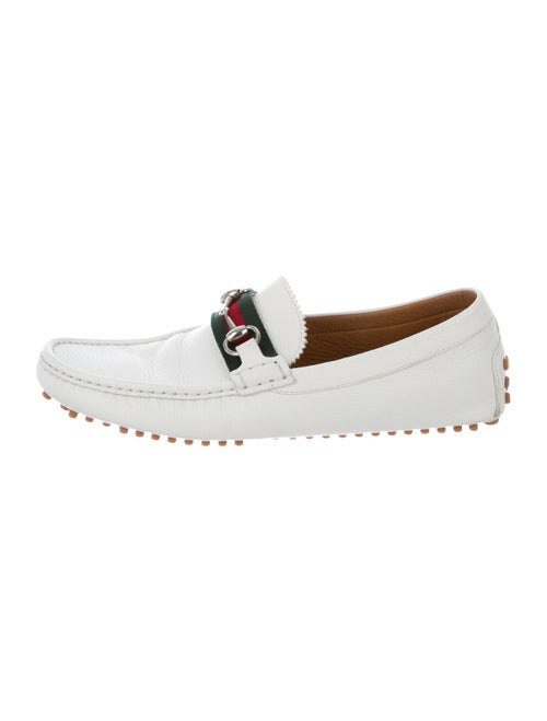 Gucci Leather Web Horsebit Loafers white