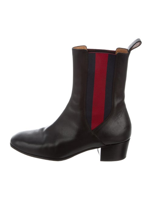 Gucci Web Ankle Boots Leather Chelsea Boots Black