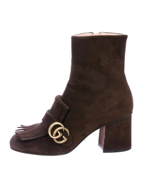 Gucci Suede Marmont Ankle Boots