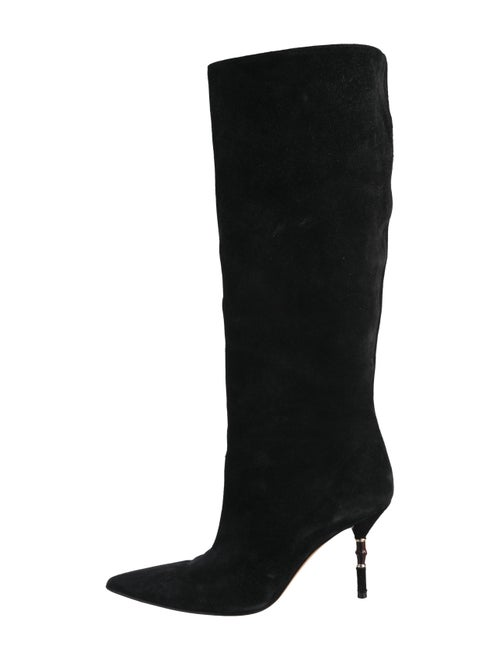 Gucci Suede Pointed-Toes Boots Black