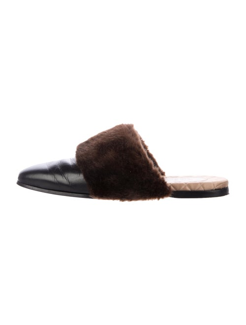 Gucci Leather Faux Fur Slippers black