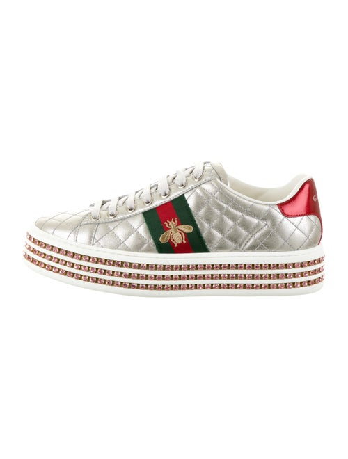 Gucci 2019 Ace Crystal Platform Sneakers Leather S