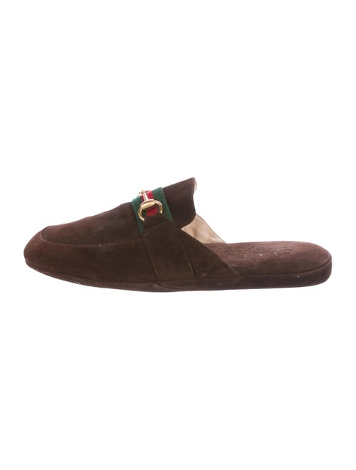 Gucci Web Horsebit Slippers gold
