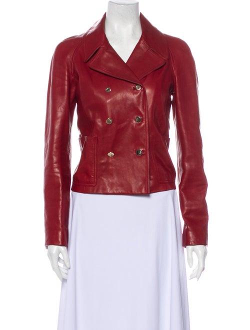 Gucci Vintage Leather Biker Jacket Red
