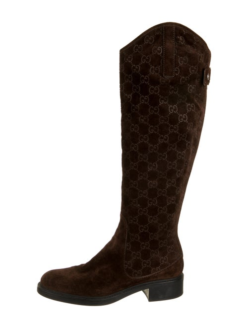 Gucci GG Suede Knee-High Boots Brown