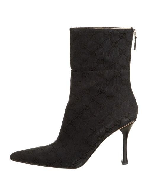 Gucci Canvas GG Mid-Calf Boots Black