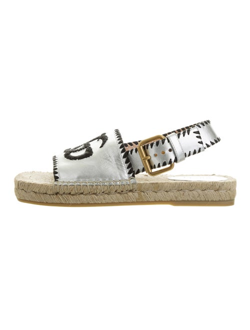 Gucci Leather Espadrilles Silver