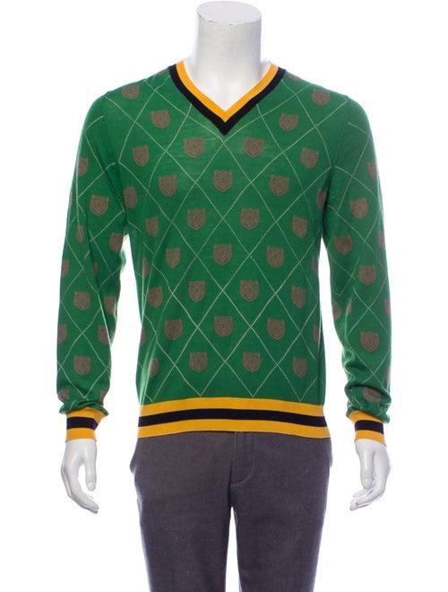Gucci Tiger Print Wool Sweater green