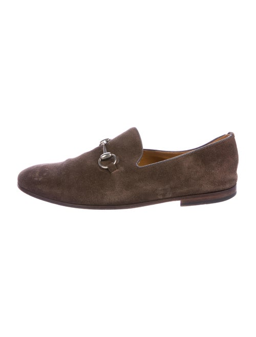 Gucci Horsebit Suede Loafers brown