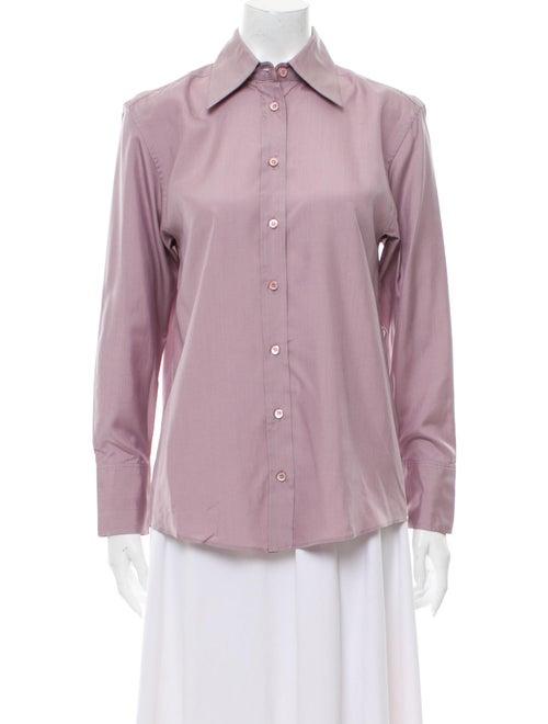 Gucci Silk Long Sleeve Button-Up Top Purple