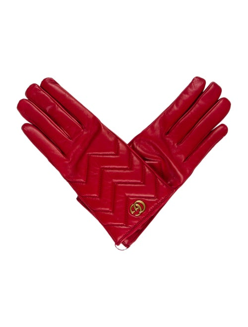 Gucci 2018 Marmont Leather Gloves Red