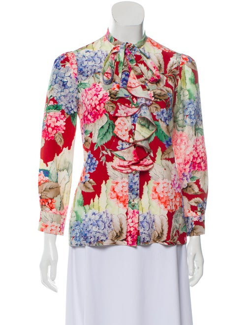 Gucci Silk Floral Print Top Red