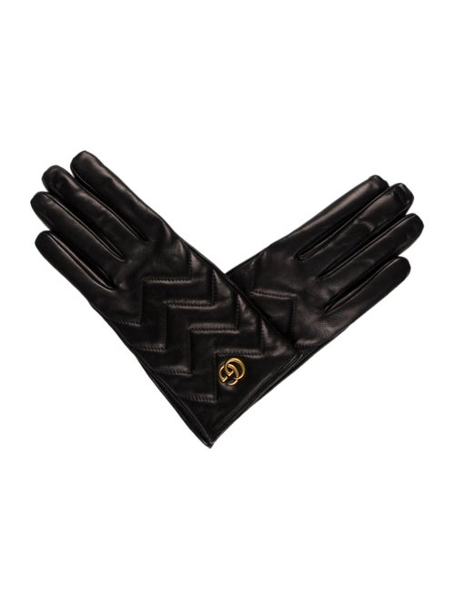Gucci 2018 Marmont Leather Gloves Black