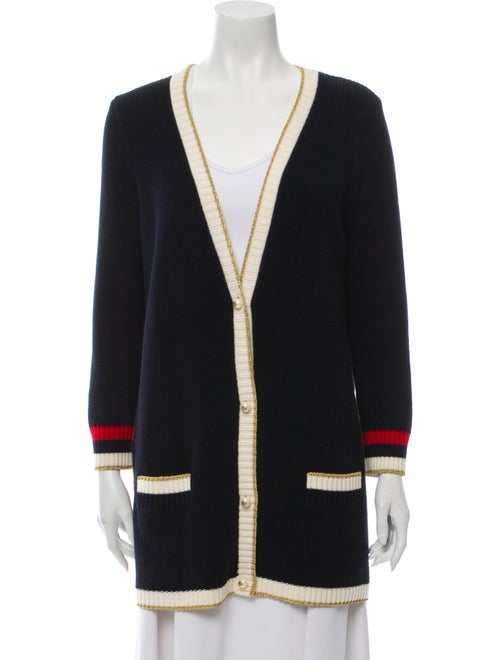 Gucci Embroidered Oversize Cardigan Navy