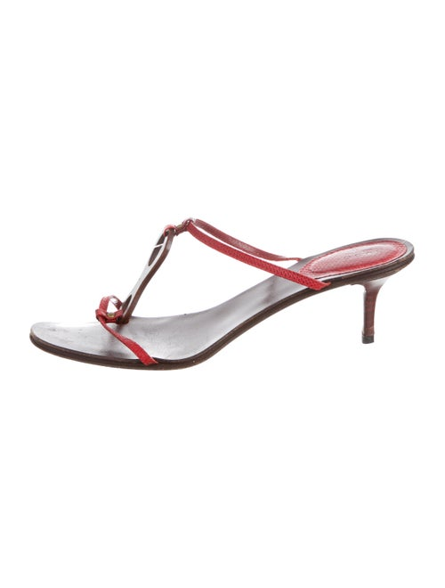 Gucci Lizard T-Strap Sandals Red