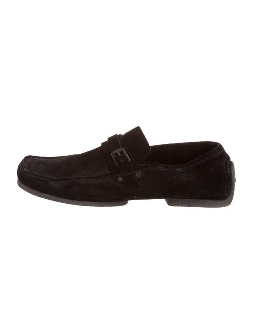 Gucci Suede Square-Toe Loafers Black