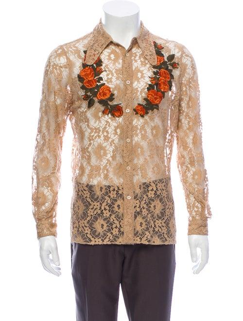 Gucci 2016 Lace Pattern Dress Shirt
