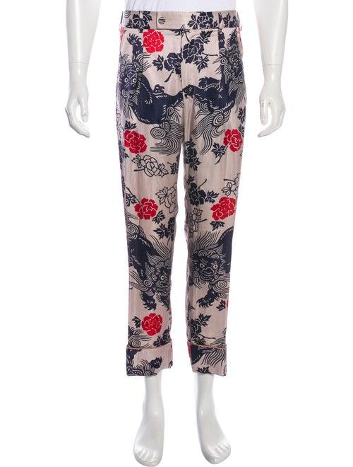 Gucci Satin Dragon Print Pants pink