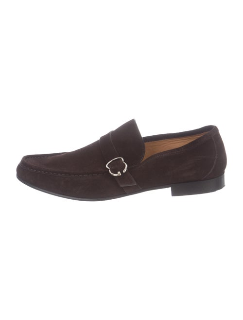 Gucci Suede Round-Toe Loafers