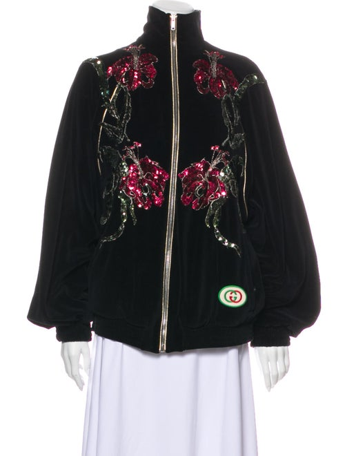 Gucci 2019 Chenille Bomber Jacket Black