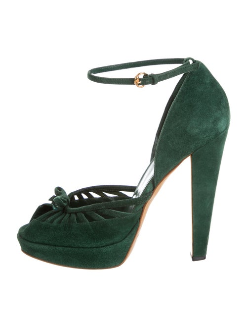 Gucci Suede Bow Accents D'Orsay Pumps Green