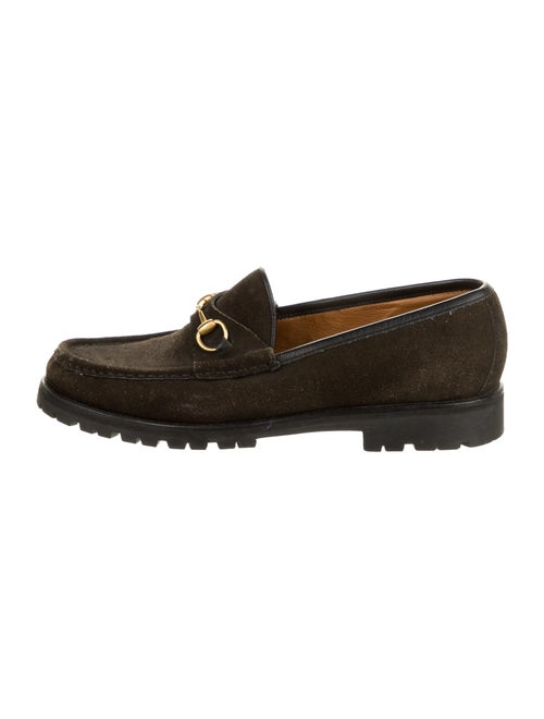 Gucci Horsebit Accent Suede Loafers Brown