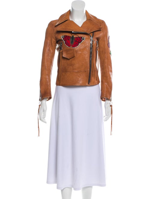 Gucci Embroidered Leather Jacket Tan