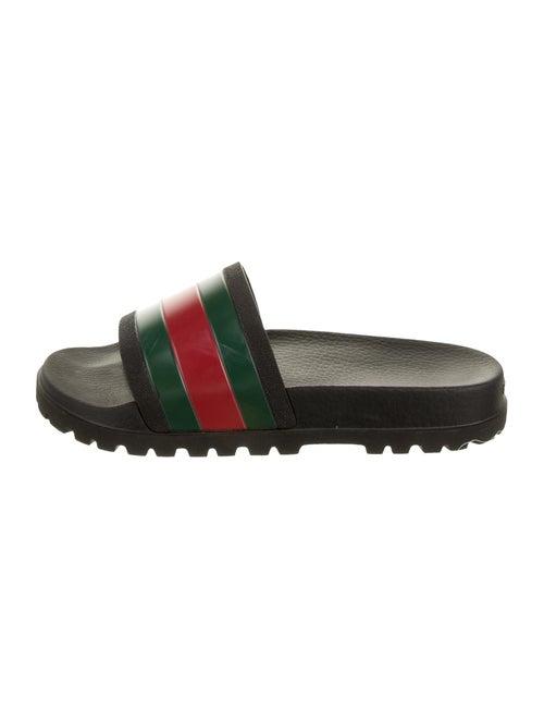 Gucci Gucci Web Accent Striped Slides Black