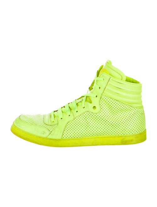 Gucci Leather High-Top Sneakers chartreuse