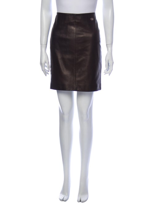 Gucci Leather Mini Skirt Brown