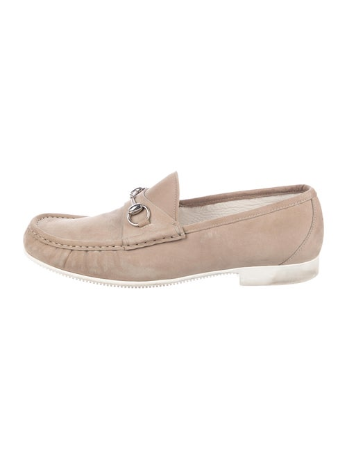 Gucci Horsebit Suede Loafers tan